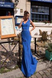 Evening Dresses 934 Silhouette  Sheath  Color  Blue  Neckline  Portrait (V-neck)  Sleeves  Wide straps  Train  No train - foto 2