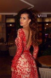 Вечірні сукні 1476-1 Силует  Прямий  Колір  Червоний  Виріз  Круглий  Рукави  Довгий  Шлейф  Без шлейфа - Фото 2