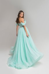 Evening Dresses 1809-1 Silhouette  A Line  Color  Green  Neckline  Sweetheart  Sleeves  Wide straps  Off the Shoulder Sleeves  Train  With train - foto 3