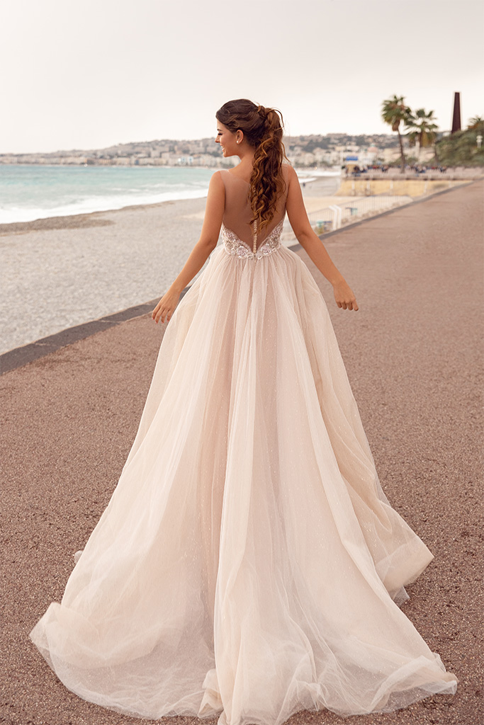 Evening Dresses 1662 Silhouette  A Line  Color  Cappuccino  Neckline  Scoop  Sleeves  Wide straps  Train  With train - foto 3