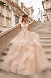Evening Dresses 1657 Silhouette  A Line  Color  Nude  Neckline  Sweetheart  Sleeves  Wide straps  Train  With train - foto 3