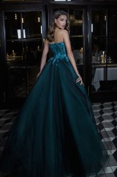 Evening Dresses 1694 Silhouette  A Line  Color  Blue  Green  Black  Neckline  Sweetheart  Sleeves  Sleeveless  Train  No train - foto 3