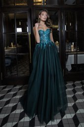 Evening Dresses 1694 Silhouette  A Line  Color  Blue  Green  Black  Neckline  Sweetheart  Sleeves  Sleeveless  Train  No train - foto 2