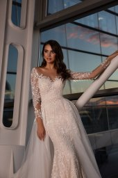 Wedding dresses Alma Collection  Gloss  Silhouette  Fitted  Color  Blush  Ivory  Neckline  Sweetheart  Sleeves  Long Sleeves  Fitted  Train  Detachable train - foto 2