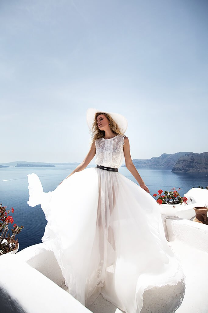 KY Atelier 1141 Collection  Santorini  Silhouette  A Line  Color  Ivory  Neckline  Bateau (Boat Neck)  Sleeves  Wide straps