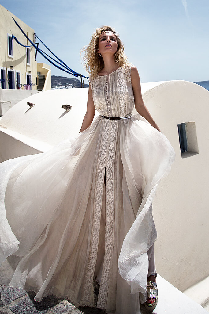 KY Atelier 1142 Collection  Santorini  Silhouette  A Line  Color  Ivory  Neckline  Bateau (Boat Neck)  Sleeves  Wide straps