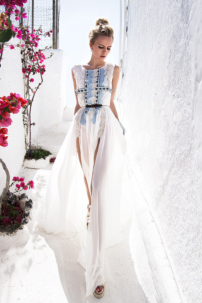 KY Atelier 1144 Collection  Santorini  Silhouette  A Line  Color  Ivory  Blue  Neckline  Bateau (Boat Neck)  Sleeves  Wide straps