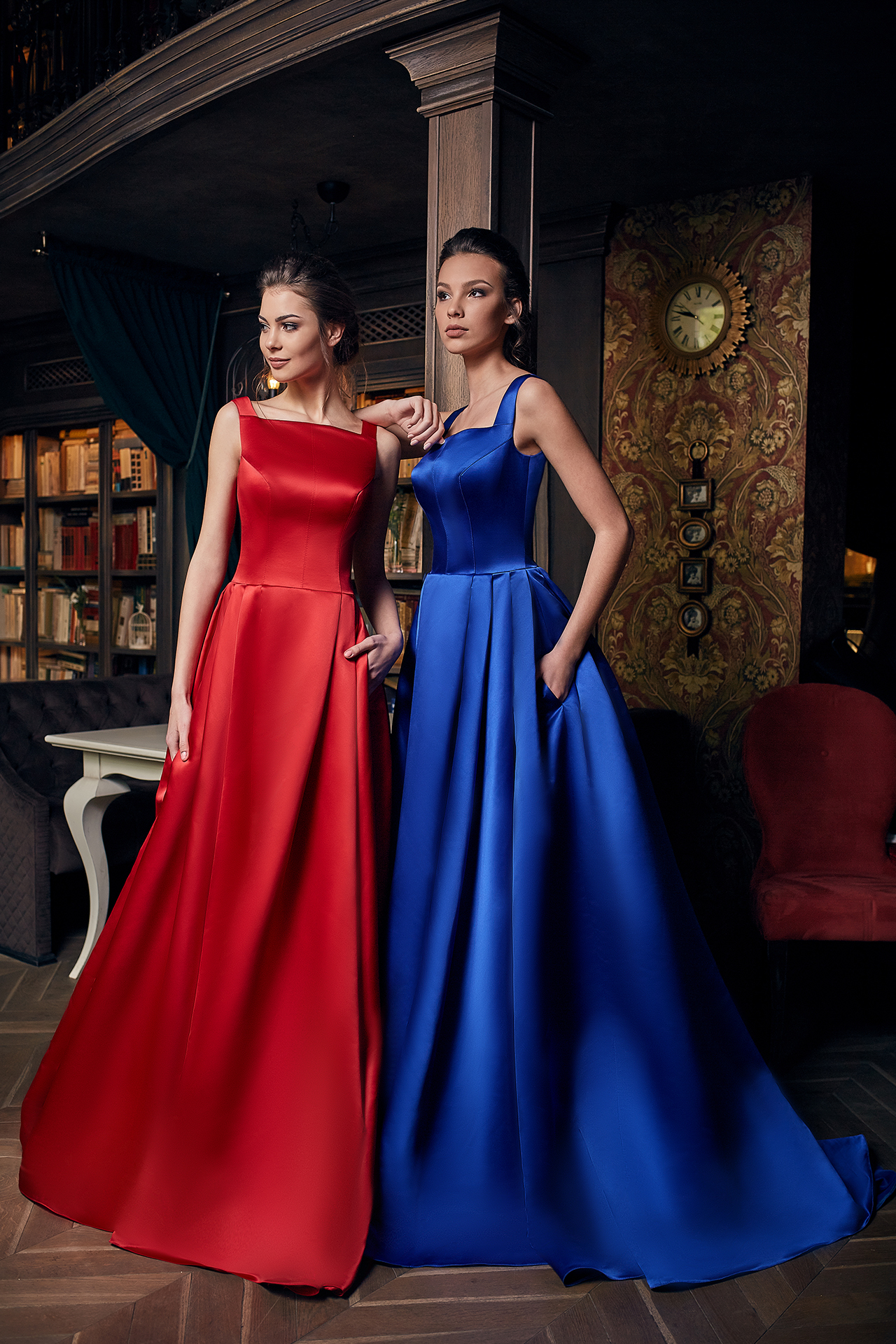 Evening Dresses 1231 Silhouette  A Line  Color  Blue  Red  Neckline  Straight  Sleeves  Wide straps  Train  With train