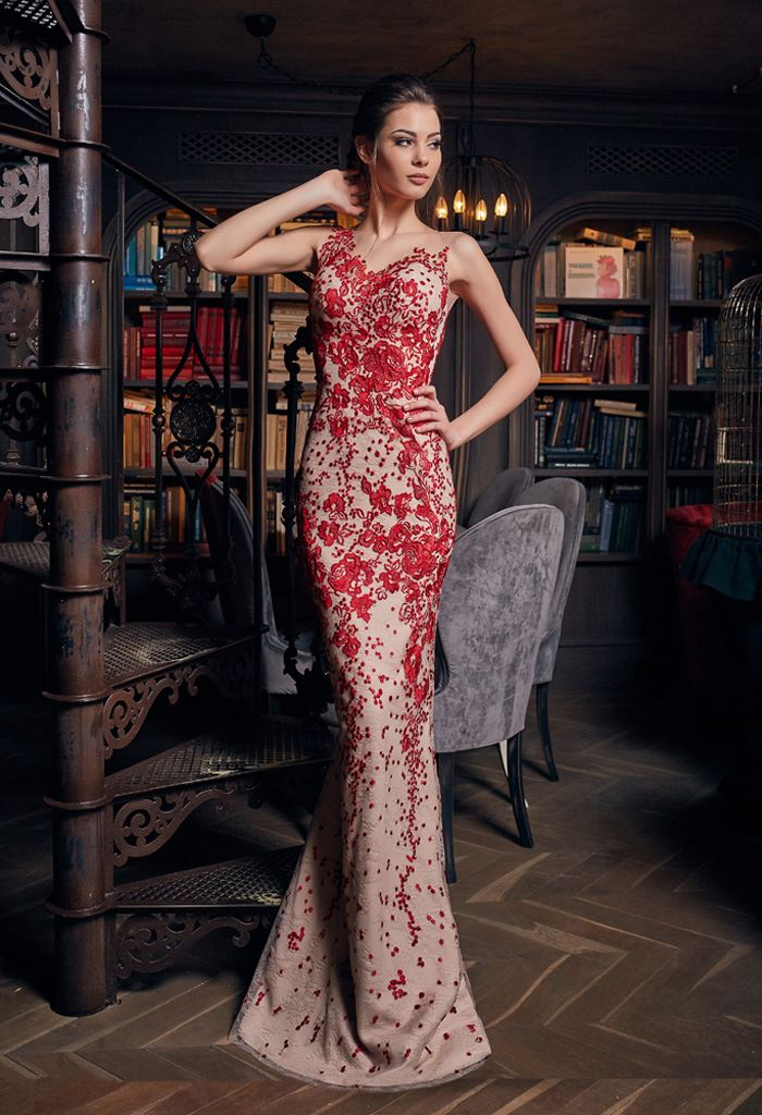Evening Dresses 1237 Silhouette  Fitted  Color  Red  Neckline  Illusion  Sleeves  Wide straps  One Shoulder  Train  No train
