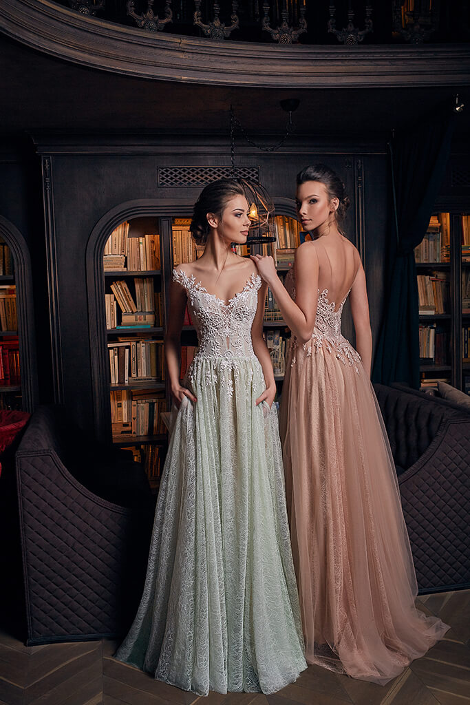 Evening Dresses 1239 Silhouette  A Line  Color  Nude  Green  Neckline  Sweetheart  Sleeves  Wide straps  Off the Shoulder Sleeves  Train  With train