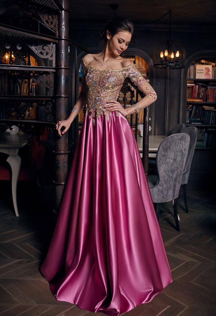 Sukienki Wieczorowe 1269 Sylwetka  Balowa suknia   Kolor  Różnokolorowy  Malinowy  Dekolt  Owalny  Rękawy  Opuszczony  Długi  Dopasowany  Flex  Z trenem