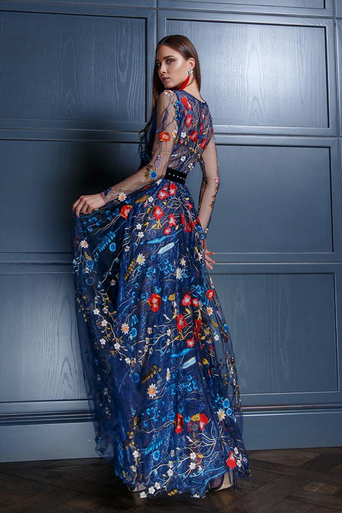Abendkleider 1349 Silhouette  A-Silhouette  Farbe  Bunt   Blau   Ausschnitt  Bato (Boot)  Ärmel  lange Ärmel  talliert  Schweif  Ohne Schleppe