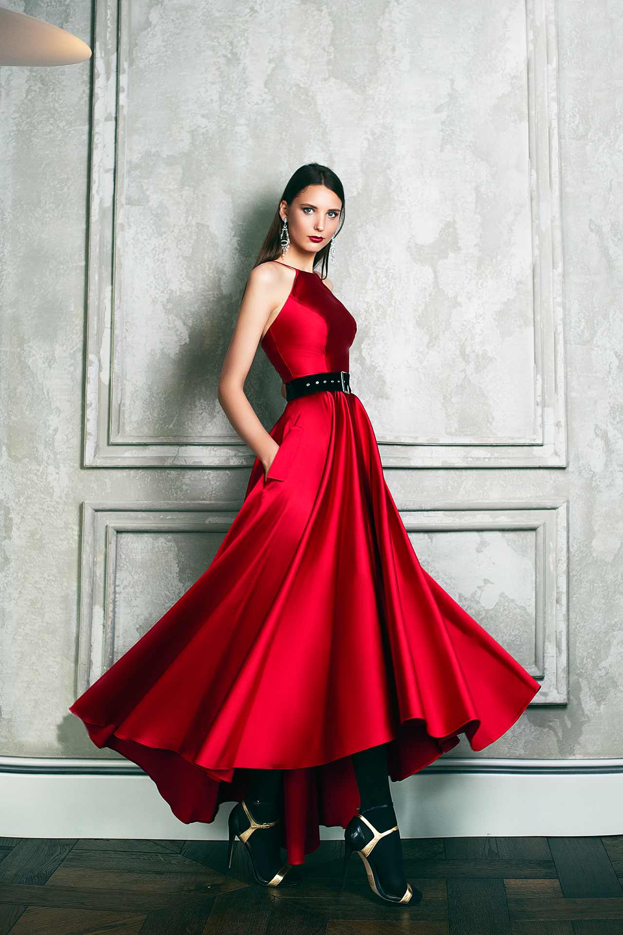 Evening Dresses 1361 Silhouette  A Line  Color  Red  Neckline  Halter  Sleeves  Sleeveless  Train  No train