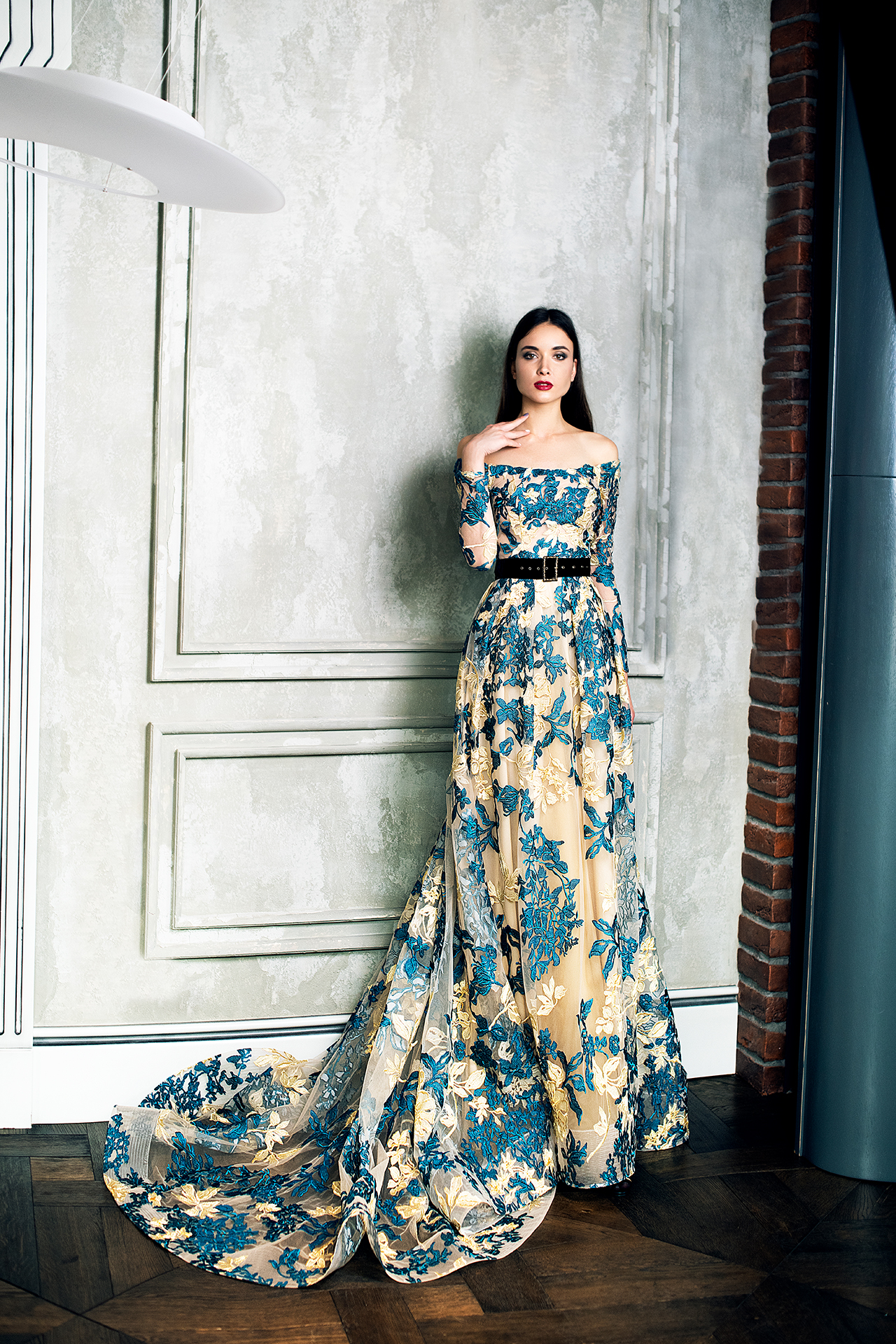 Evening Dresses 1366 Silhouette  A Line  Color  Multi  Neckline  Straight  Sleeves  Off the Shoulder Sleeves  Long Sleeves  Train  With train