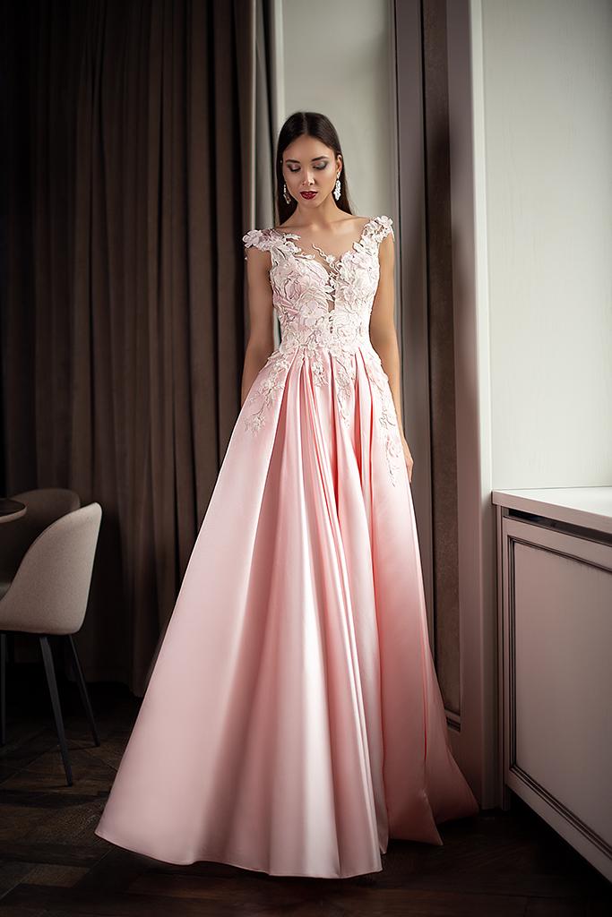 Evening Dresses 1398 Silhouette  A Line  Color  Pink  Neckline  Portrait (V-neck)  Sleeves  Wide straps  Train  With train