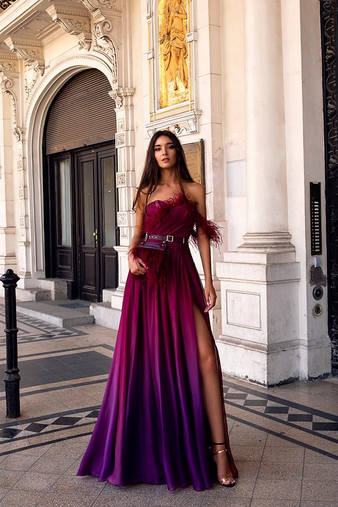 Evening Dresses 1482 Silhouette  A Line  Color  Violet  Pink  Sleeves  One Shoulder  Off the Shoulder Sleeves
