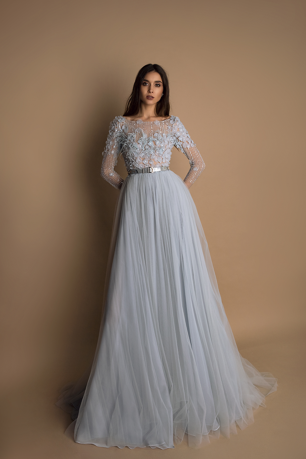 Evening Dresses 1541 Silhouette  A Line  Color  Blue  Neckline  Bateau (Boat Neck)  Sleeves  Long Sleeves  Fitted  Train  With train