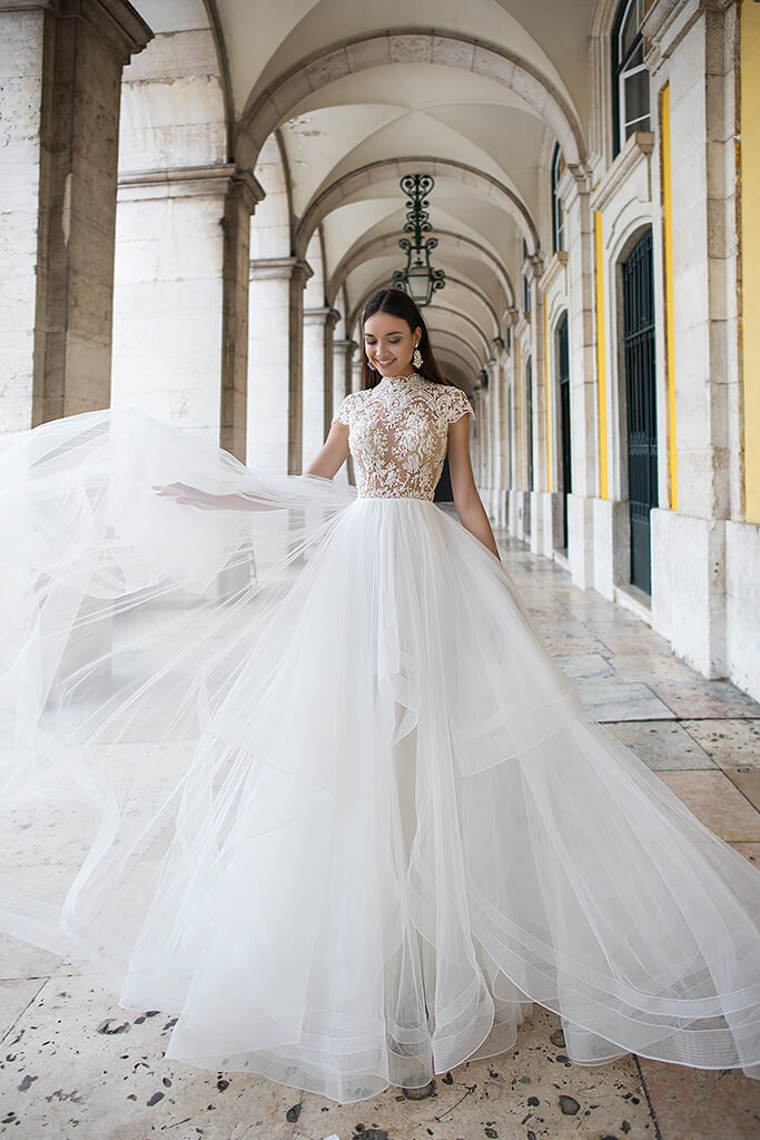Wedding dresses Elba Collection  Lisbon Lace  Silhouette  A Line  Color  Ivory  Neckline  Mandarin  Sleeves  Petal  Train  With train