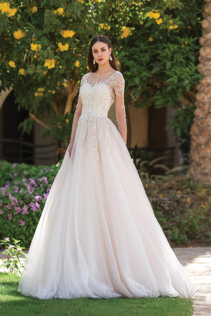 Wedding dresses Teri Collection  Fresh Touch  Silhouette  A Line  Color  Cappuccino  Ivory  Neckline  Sweetheart  Sleeves  Long Sleeves  Fitted  Train  With train