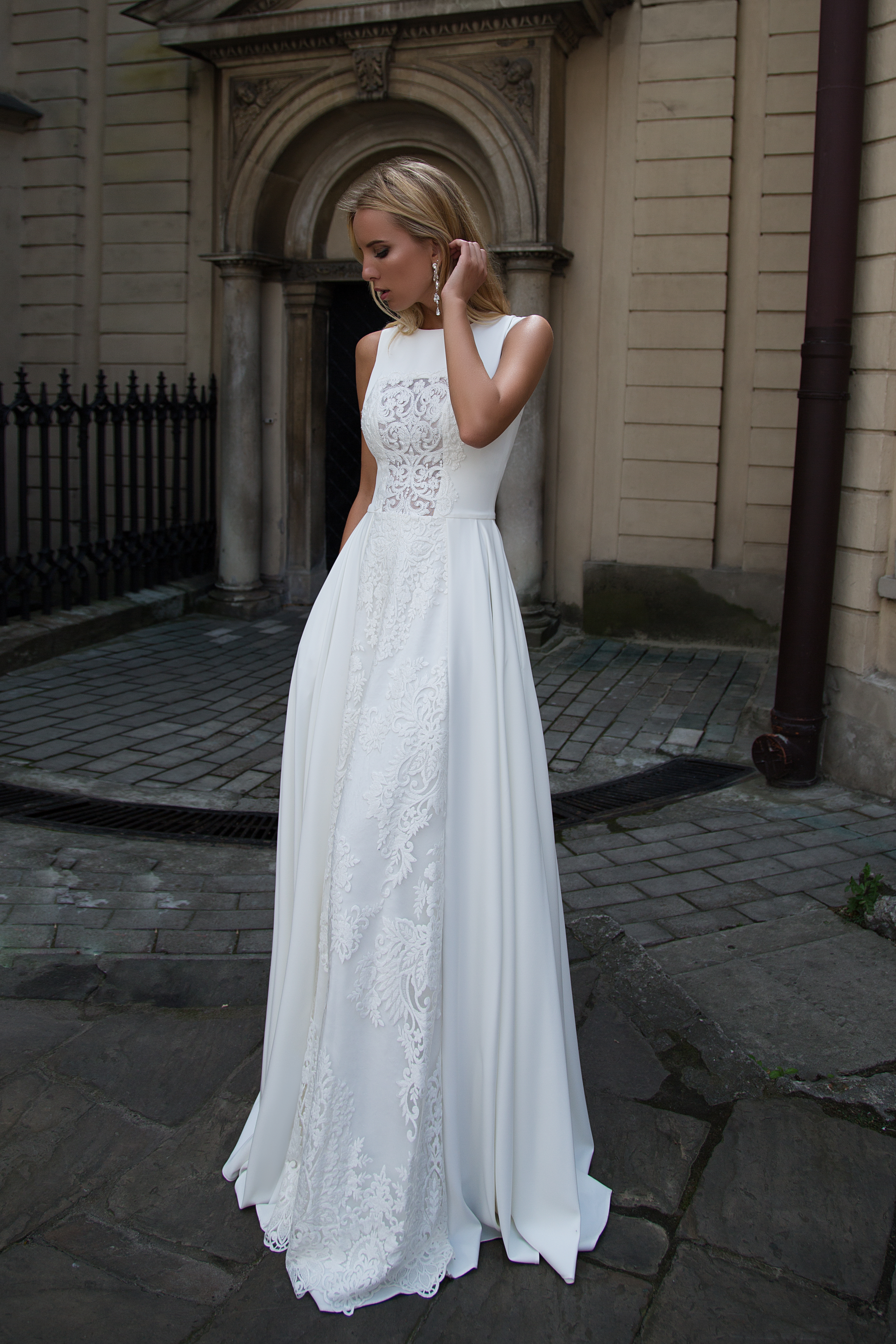 Wedding dresses Heaven Collection  Supreme Classic  Silhouette  A Line  Color  Ivory  Neckline  Scoop  Sleeves  Wide straps  Train  No train