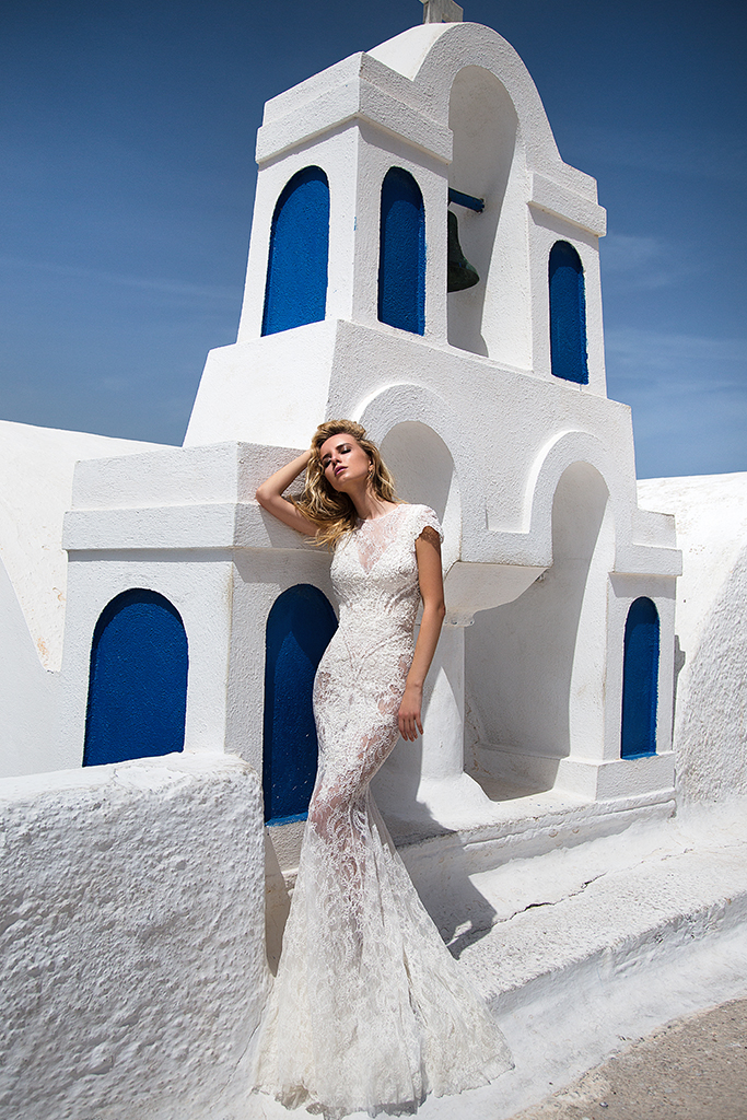 KY Atelier 1118 Collection  Santorini  Silhouette  Fitted  Color  Ivory  Neckline  Bateau (Boat Neck)  Sleeves  Petal