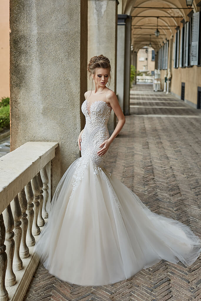Wedding dresses Melania Collection  Supreme Classic  Silhouette  Mermaid  Color  Nude  Ivory  Neckline  Sweetheart  Sleeves  Sleeveless  Train  With train