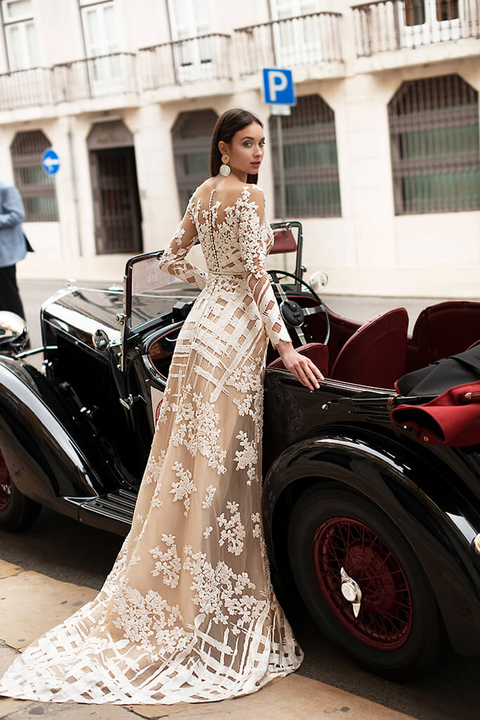 Wedding dresses Picassa Collection  Lisbon Lace  Silhouette  Sheath  Color  Cappuccino  Ivory  Neckline  Illusion  Sleeves  Long Sleeves  Fitted  Train  With train