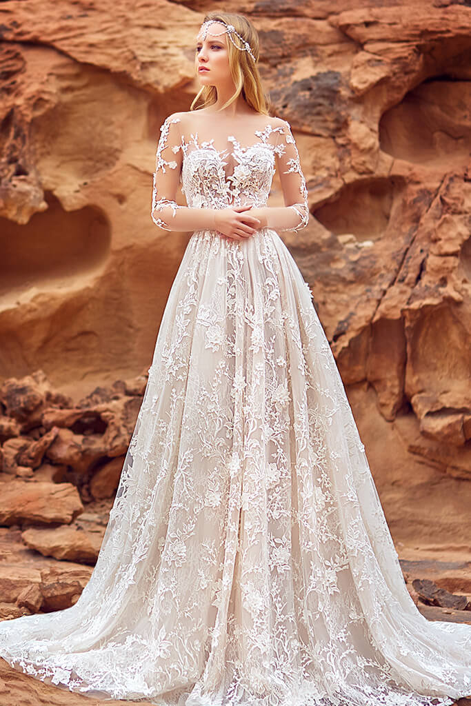 Wedding dresses Liliana Collection  Voyage  Silhouette  A Line  Color  Cappuccino  Ivory  Neckline  Sweetheart  Illusion  Sleeves  Long Sleeves  Fitted  Train  With train