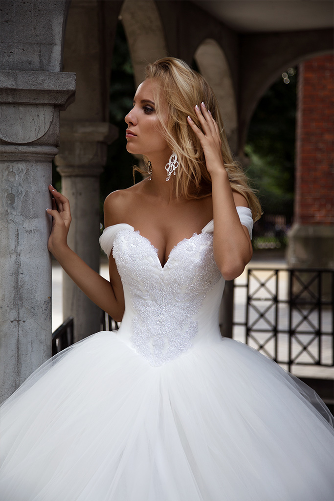Wedding dresses Cecilia Collection  Iconic Look  Silhouette  Ball Gown  Color  Ivory  White  Neckline  Sweetheart  Sleeves  Off the Shoulder Sleeves  Train  With train