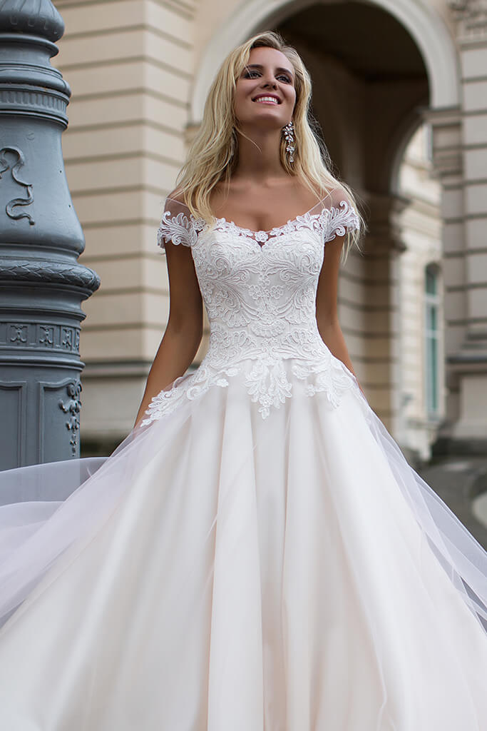 Wedding dresses Dolce Collection  Iconic Look  Silhouette  A Line  Color  Cappuccino  Ivory  Neckline  Sweetheart  Sleeves  Off the Shoulder Sleeves  Train  No train