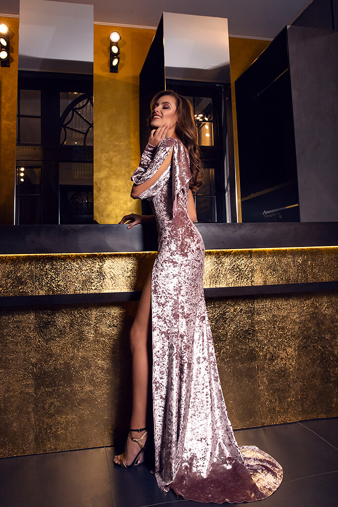 Evening Dresses 1480 Silhouette  Sheath  Color  Cappuccino  Sleeves  One Shoulder  Long Sleeves