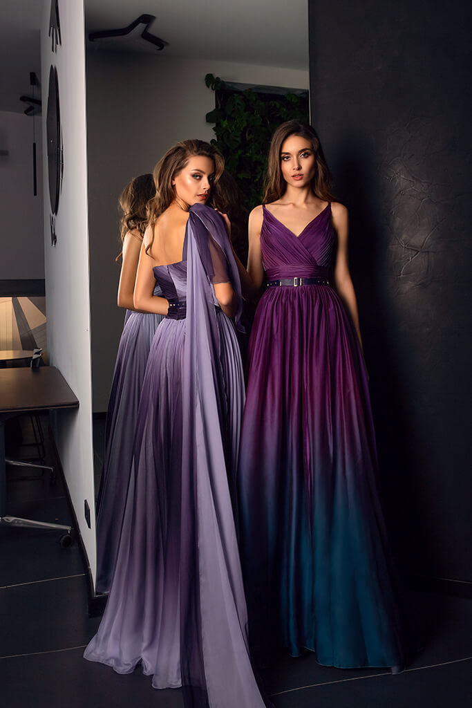 Evening Dresses 1479  1528 Silhouette  A Line  Color  Eggplant  Violet  Neckline  Portrait (V-neck)  Sleeves  Spaghetti Straps  One Shoulder  Train  With train