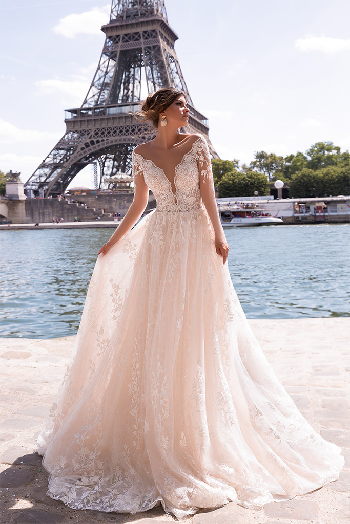 Wedding dresses Virginia Collection  L`arome de Paris  Silhouette  A Line  Color  Ivory  Neckline  Portrait (V-neck)  Sleeves  Long Sleeves  Fitted  Train  With train