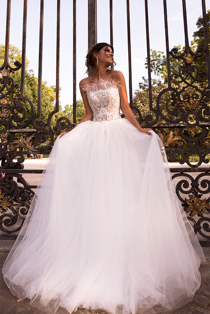 Wedding dresses Meghan Collection  L`arome de Paris  Silhouette  A Line  Color  Ivory  Neckline  Straight  Sleeves  Sleeveless  Train  With train