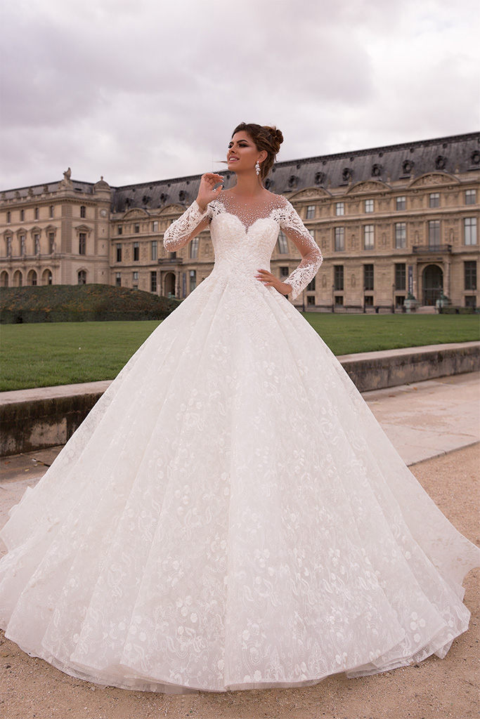 Wedding dresses Eloise Collection  L`arome de Paris  Silhouette  Ball Gown  Color  Ivory  Neckline  Sweetheart  Illusion  Sleeves  Long Sleeves  Fitted  Train  With train