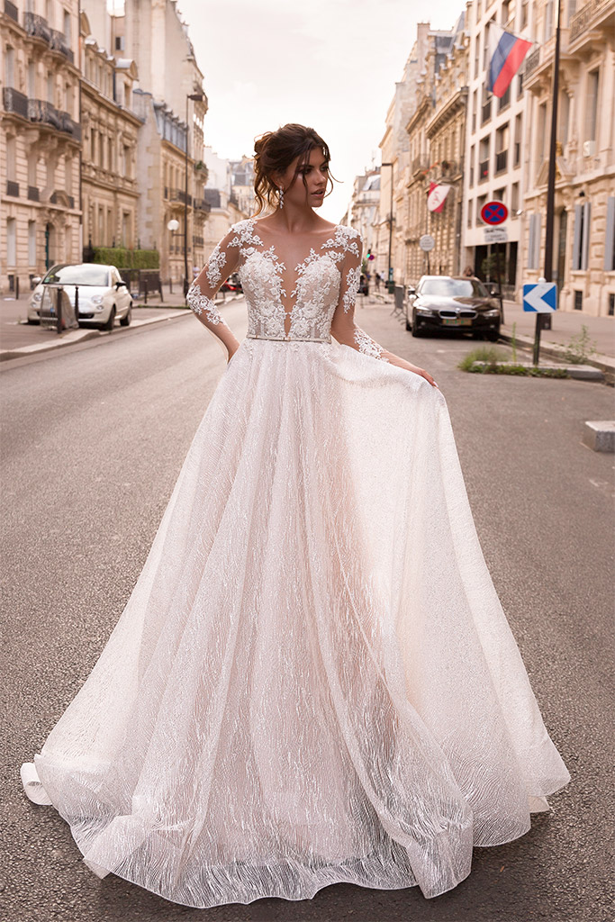 Wedding dresses Margaret Collection  L`arome de Paris  Silhouette  A Line  Color  Ivory  Neckline  Portrait (V-neck)  Illusion  Sleeves  Long Sleeves  Fitted  Train  With train