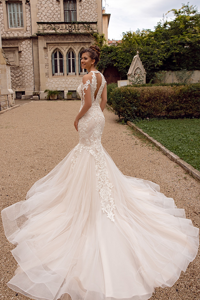 Wedding dresses Prima Collection  Côte d'Azur  Silhouette  Mermaid  Color  Blush  Ivory  Neckline  Halter  Bateau (Boat Neck)  Sleeves  Set In  Long Sleeves  Fitted  Train  With train