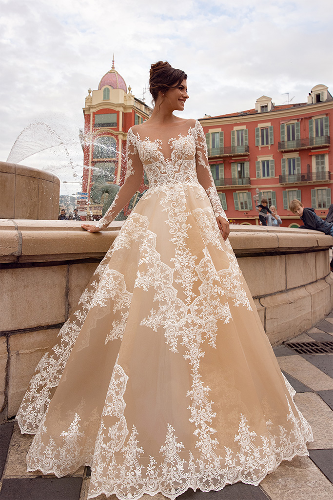 Wedding dresses Sophia Collection  Côte d'Azur  Silhouette  A Line  Color  Cappuccino  Ivory  Neckline  Sweetheart  Portrait (V-neck)  Sleeves  Long Sleeves  Fitted  Train  No train