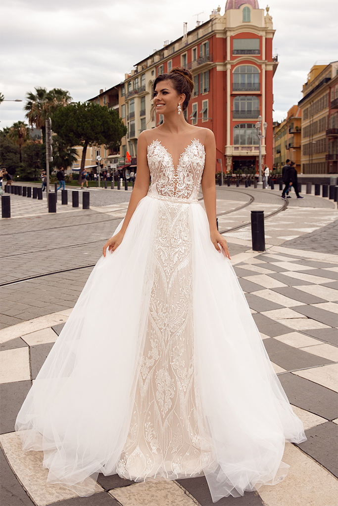 Wedding dresses Sephora Collection  Côte d'Azur  Silhouette  Fitted  A Line  Color  Blush  Ivory  Neckline  Sweetheart  Portrait (V-neck)  Sleeves  Illusion Straps  Train  Detachable train