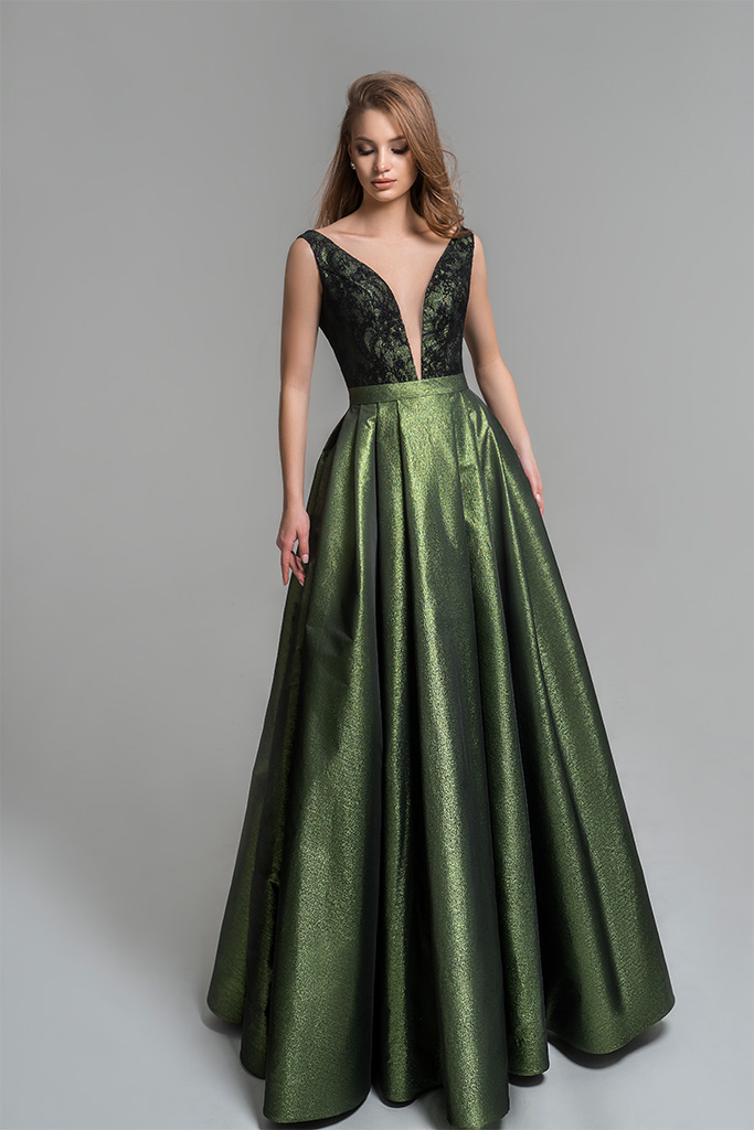Evening Dresses 1806 Silhouette  A Line  Color  Green  Neckline  Portrait (V-neck)  Sleeves  Wide straps  Train  No train
