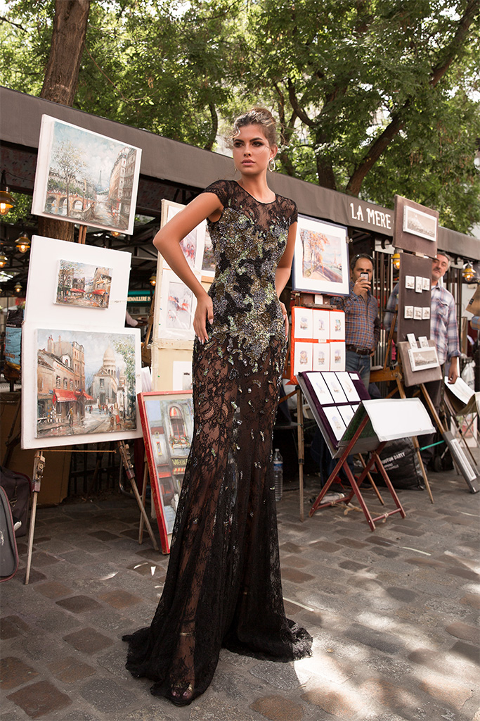 Evening Dresses 1726 Silhouette  Fitted  Color  Multi  Black  Neckline  Scoop  Sleeves  T-Shirt  Train  No train