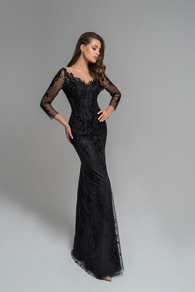 Evening Dresses 1783 Silhouette  Fitted  Color  Black  Neckline  Portrait (V-neck)  Sleeves  Set In  Long Sleeves  Train  No train