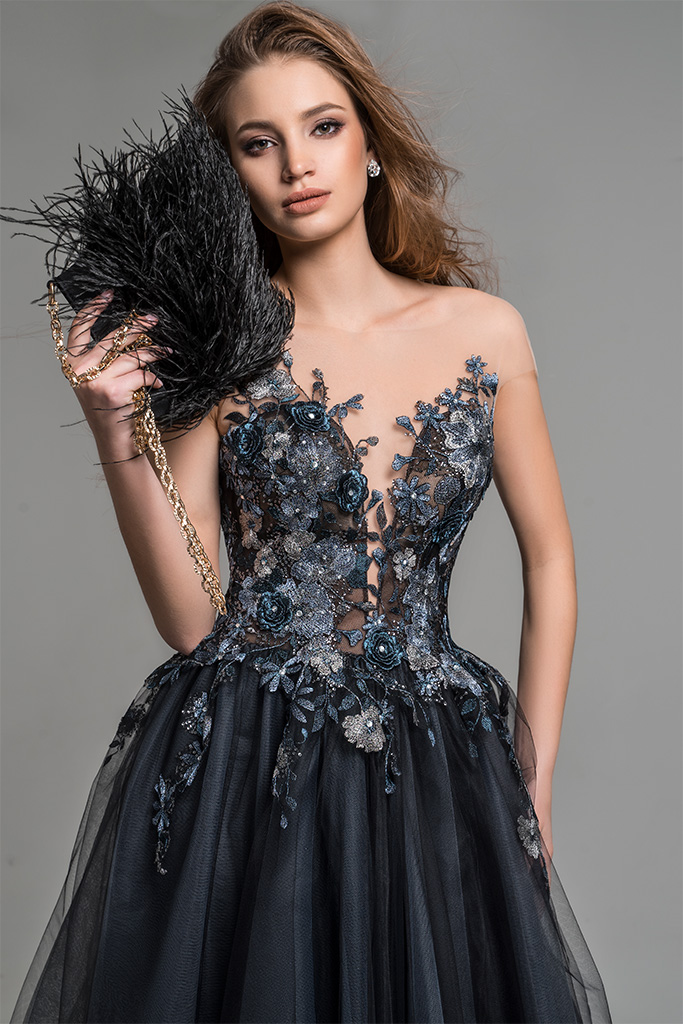 Evening Dresses 1776 Silhouette  A Line  Color  Black  Neckline  Sweetheart  Sleeves  Wide straps  Illusion Straps  Train  No train