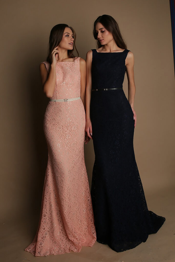 Evening gowns S-1623 peach Silhouette  Fitted  Color  Blue  Peach  Red  Neckline  Bateau (Boat Neck)  Sleeves  Wide straps  Train  With train