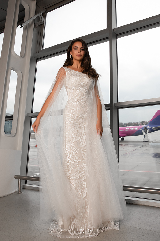 Wedding dresses Viola Collection  Gloss  Silhouette  Sheath  Color  Ivory  Neckline  Bateau (Boat Neck)  Sleeves  Wide straps  Train  With train