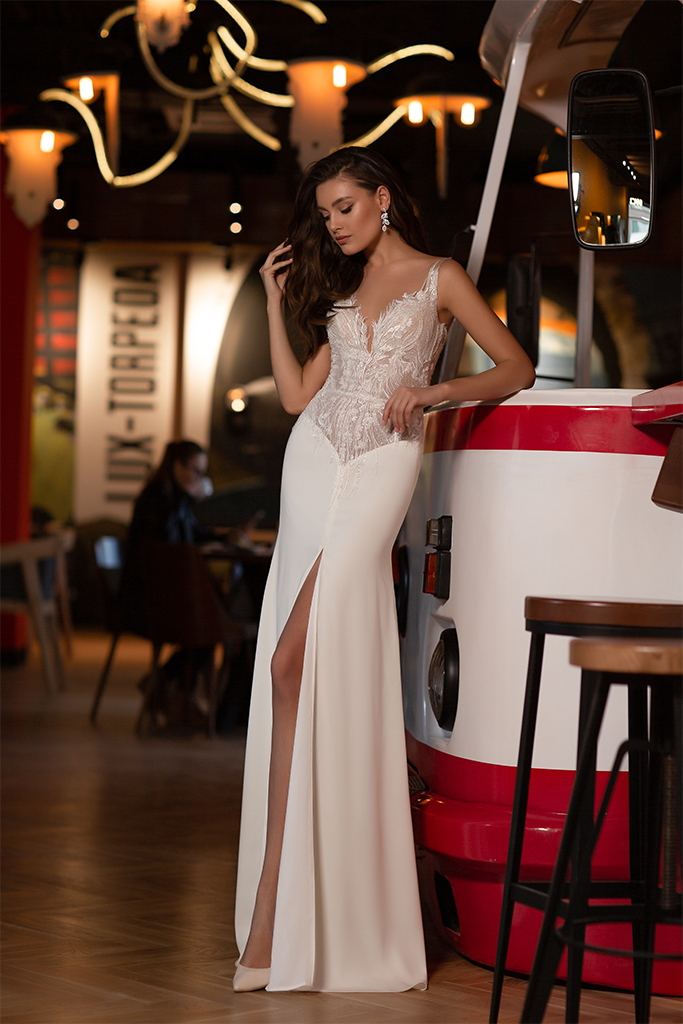 Wedding dresses Catrice Collection  Gloss  Silhouette  Sheath  Color  Blush  Ivory  Neckline  Portrait (V-neck)  Sleeves  Wide straps  Illusion Straps  Train  With train