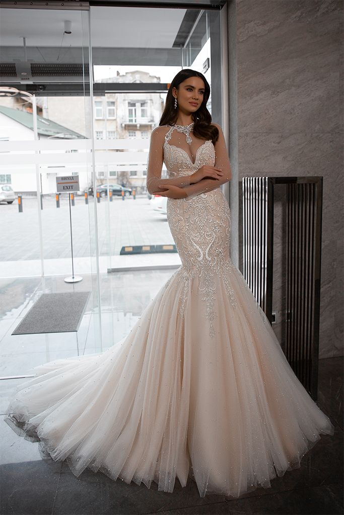 Wedding dresses Nicol Collection  Gloss  Silhouette  Mermaid  Color  Blush  Ivory  Neckline  Sweetheart  Halter  Sleeves  Long Sleeves  Fitted  Train  With train