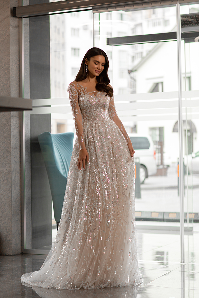 Wedding dresses Shine Collection  Gloss  Silhouette  A Line  Color  Silver  Ivory  Neckline  Sweetheart  Sleeves  Long Sleeves  Fitted  Train  With train