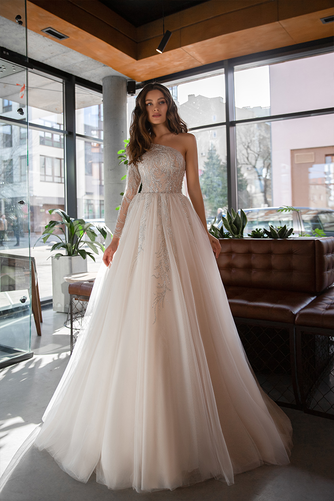 Wedding dresses Alexandria Collection  Gloss  Silhouette  Ball Gown  Color  Blush  Ivory  Neckline  Straight  Sleeves  One Shoulder  Train  With train