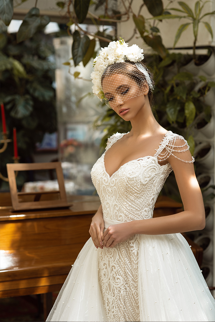 Wedding dresses Opal Collection  Gloss  Silhouette  Fitted  A Line  Color  Blush  Ivory  Neckline  Sweetheart  Sleeves  Wide straps  Train  Detachable train